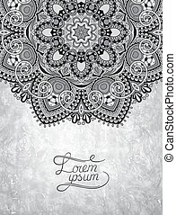 grey ornamental floral circle pattern with place for your text
