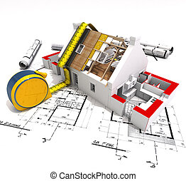 Construction technical - 3D rendering of a house under...