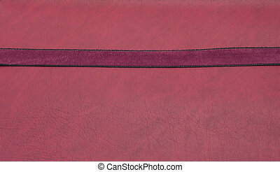 Puple band on a red leatherette