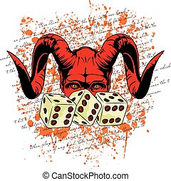 devil dice - devil's face behind the three dice with written...