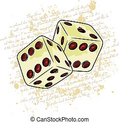 dice - two dice with written and stains in the background