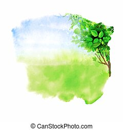 glade - Green tree on the glade. Watercolor abstract.