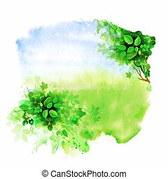 Green tree on the glade Watercolor abstract