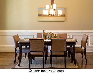 Modern Dining Room - A modern dining room table and chairs