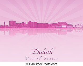 Duluth skyline in purple radiant orchid in editable vector...