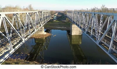 Railway bridge, aerial survey - Railway bridge, filming from...