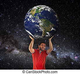 Man to lift Earth planet above head. Elements of this image...