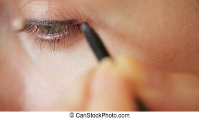 Eye make-up closeup - pencil and mascara