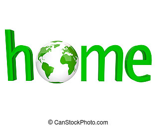 Home - Green Word with Earth Globe