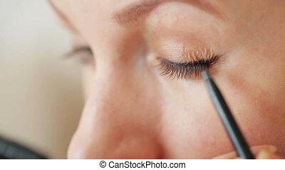 Eye make-up closeup - pencil and mascara
