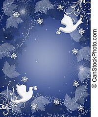 Christmas Background Holly doves sparkle - Image and...