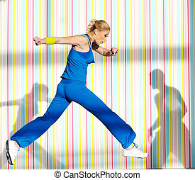 one young healthy woman exercice fitness run and jump in air