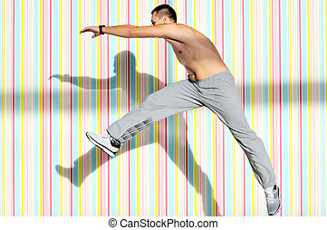 one young healthy man exercice fitness recreation and jump...