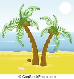 Cartoon beautiful beach with palm t - Vector illustrated...