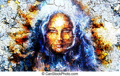 mystic face women, with structure crackle background effect,...