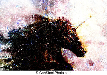 Horse, black unicorn in space, illustration abstract desert...