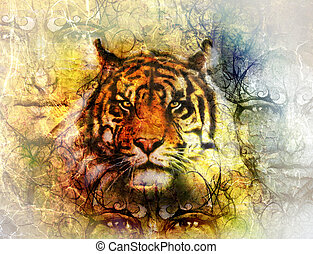 painting of a bright mighty tiger head on ornamental...