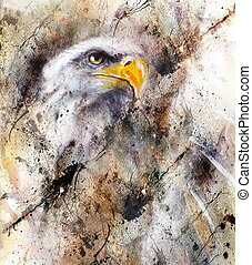 beautiful painting of eagle on an abstract background,color