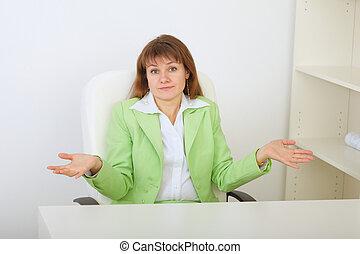 Surprised businesswoman shrugs - The surprised businesswoman...