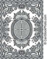 grey ukrainian floral carpet design for print on canvas or...