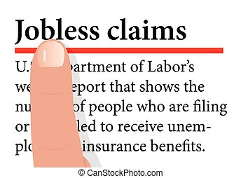 term with a forefinger on it of Jobless Claims - Vector...