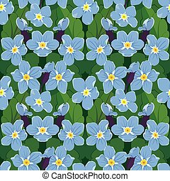 Seamless pattern with beautiful flowers - forget me not -...