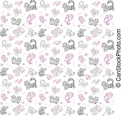 vector background with different cute animals,objects and...