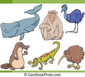 wild animals cartoon set illustration - Cartoon Illustration...