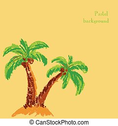 handmade drawing pastel chalks palm tree background