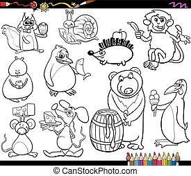 animals and food coloring page - Coloring Book Cartoon...