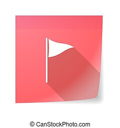 Sticky note icon with a golf flag - Illustration of a sticky...