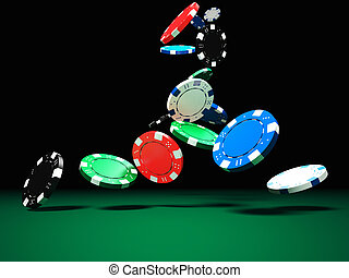 poker chips - 3d image of classic poker chips and green...