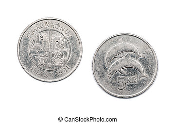 Five Kronur coin from Iceland 1981 - A five Kronur coin from...