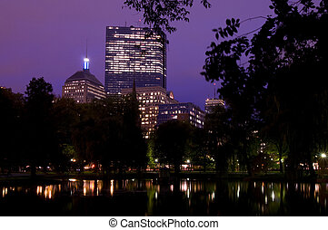 Boston at Night from Boston Commons Park