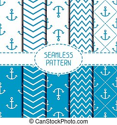 Set of blue marine geometric seamless pattern with anchor...