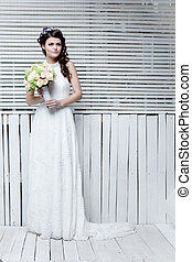 Beautiful bride  with flowers