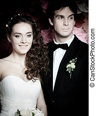 Young couple in wedding gown