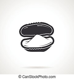 Oyster black vector icon - Single black silhouette icon for...