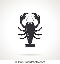Crawfish black vector icon