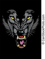 wild wolf in the dark - wild wolf head in the dark night