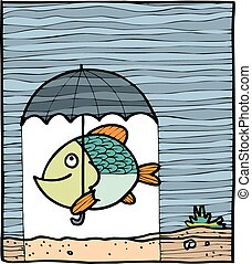 fish with the umbrella