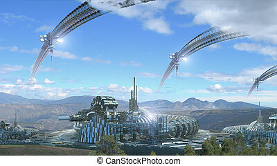Fantasy architecture composite - Science fiction...