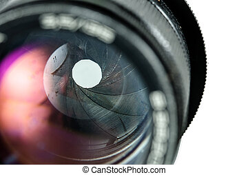 The diaphragm of a camera lens aperture. Selective focus...