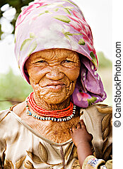 Basarwa woman - One of the few remaining Basarwa, San, or...