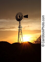 Kansas Windmill Sunset - A Windmill with sun and weeds.