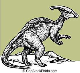 parasaurus - prehistoric dinosaur isolated on the white...