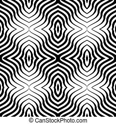 Vector Op Art Seamless Pattern - Op Art Black White Vector...