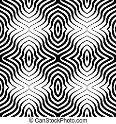 Vector Op Art Seamless Pattern - Op Art Black White Vector...