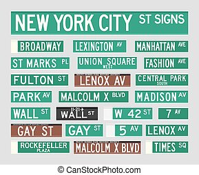 New York Street Signs - Vector illustration of the most...
