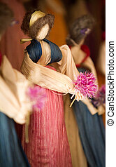 Corn Husk Doll  - Corn hust doll with woll hair and a flower